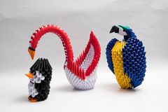 3d Origami Swan parrot penguin Royalty Free Stock Image