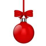 3d ornamenten van de Kerstmisbal met rode lint en bogen Stock Afbeelding
