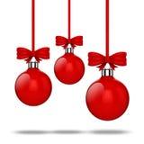 3d ornamenten van de Kerstmisbal met rode lint en bogen Stock Afbeeldingen