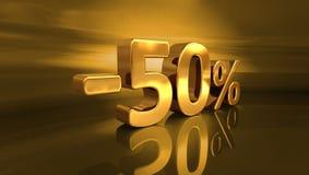 3d oro -50%, meno il segno di sconto di cinquanta per cento Fotografia Stock Libera da Diritti
