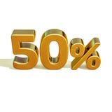 3d oro 50 muestra del cincuenta por ciento Imagenes de archivo