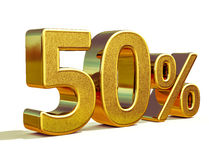 3d oro 50 muestra del cincuenta por ciento Imagen de archivo