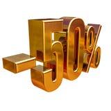 3d oro 50 muestra del cincuenta por ciento Fotos de archivo libres de regalías
