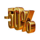 3d oro 50 muestra del cincuenta por ciento Fotografía de archivo libre de regalías