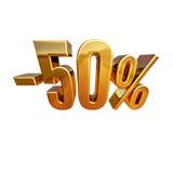 3d oro 50 muestra del cincuenta por ciento Imagen de archivo libre de regalías