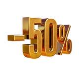 3d oro 50 muestra del cincuenta por ciento Foto de archivo libre de regalías