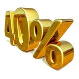 3d oro 40 muestra del descuento del cuarenta por ciento Foto de archivo