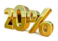 3d oro 20 muestra del descuento del veinte por ciento Imágenes de archivo libres de regalías