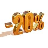 3d oro 20 muestra del descuento del veinte por ciento Imagenes de archivo