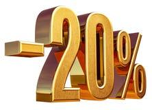 3d oro 20 muestra del descuento del veinte por ciento Fotografía de archivo libre de regalías