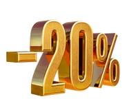 3d oro 20 muestra del descuento del veinte por ciento Imagen de archivo