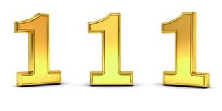3D oro numero uno, 1, con tre angoli di vista differenti isolati su bianco illustrazione vettoriale