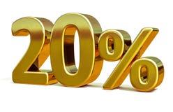 3d oro 20 segno di sconto di venti per cento Immagine Stock Libera da Diritti