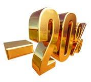 3d oro 20 segno di sconto di venti per cento Immagine Stock