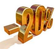 3d oro 20 segno di sconto di venti per cento Immagini Stock Libere da Diritti