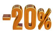 3d oro 20 segno di sconto di venti per cento Immagini Stock