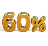 3d oro 60 sessanta segni di sconto di per cento Fotografia Stock Libera da Diritti