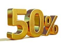 3d oro 50 un segno di cinquanta per cento Immagine Stock