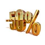 3d oro 50 un segno di cinquanta per cento Immagini Stock Libere da Diritti