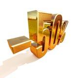 3d oro 50 un segno di cinquanta per cento Fotografia Stock
