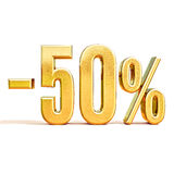 3d oro 50 un segno di cinquanta per cento Immagine Stock Libera da Diritti