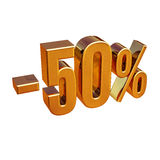 3d oro 50 un segno di cinquanta per cento Fotografie Stock Libere da Diritti
