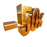 3d oro 50 un segno di cinquanta per cento Immagini Stock