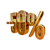 3d oro 50 un segno di cinquanta per cento Fotografia Stock Libera da Diritti
