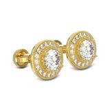 3D os diamantes do ouro amarelo da ilustração dois parafusam o stu da esterlina do cargo Foto de Stock Royalty Free
