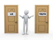 3d osoba i prawdy kłamstwa drzwi royalty ilustracja