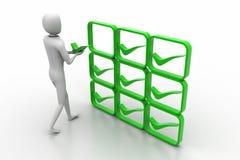 3d osoba z zielonym pozytywnym symbolem w rękach Obrazy Stock