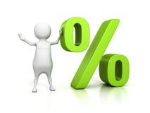3d osoba z zielonym procentu symbolem dyskontowy oferty pojęcie Zdjęcie Stock