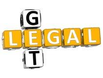 3D ottengono le parole incrociate legali Fotografia Stock Libera da Diritti