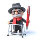 3d Oude mens met het lopen kader die een pen houden stock illustratie