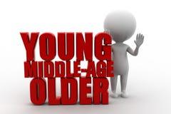 3D oudere mensen jonge middenleeftijd Stock Foto's