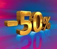 3d ouro -50%, menos o sinal de um disconto de cinqüênta por cento Fotos de Stock Royalty Free