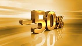 3d ouro -50%, menos o sinal de um disconto de cinqüênta por cento Fotografia de Stock Royalty Free