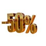 3d ouro 50 sinal de cinqüênta por cento Foto de Stock Royalty Free