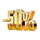 3d ouro 50 sinal de cinqüênta por cento Fotos de Stock