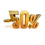 3d ouro 50 sinal de cinqüênta por cento Fotografia de Stock