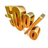 3d ouro 50 sinal de cinqüênta por cento Imagem de Stock Royalty Free