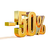 3d ouro 50 sinal de cinqüênta por cento Imagens de Stock