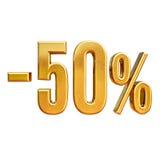 3d ouro 50 sinal de cinqüênta por cento Foto de Stock