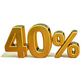 3d ouro 40 sinal de um disconto de quarenta por cento ilustração stock