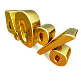 3d ouro 40 sinal de um disconto de quarenta por cento ilustração do vetor