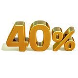 3d ouro 40 sinal de um disconto de quarenta por cento ilustração royalty free