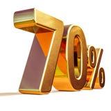 3d ouro 70 sinal de um disconto de setenta por cento Fotos de Stock Royalty Free