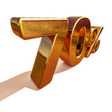 3d ouro 70 sinal de um disconto de setenta por cento Imagens de Stock