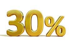 3d ouro 30 sinal de um disconto de trinta por cento Fotografia de Stock Royalty Free