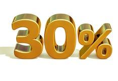 3d ouro 30 sinal de um disconto de trinta por cento Foto de Stock